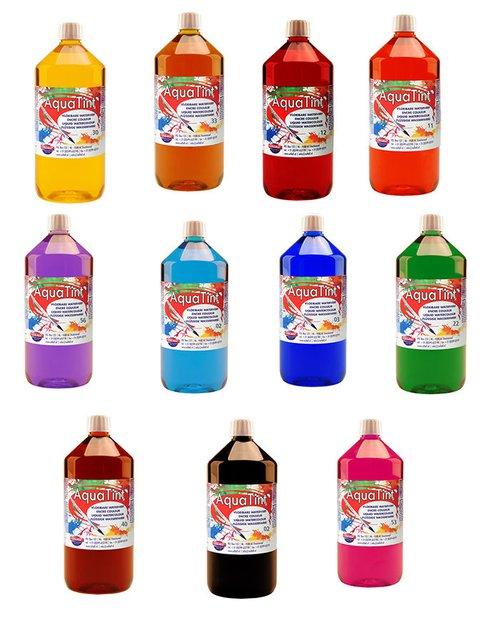 Aquatint 1000 ml. sortiert 10 Farben sortiert (ohne weiss, gold und silber).