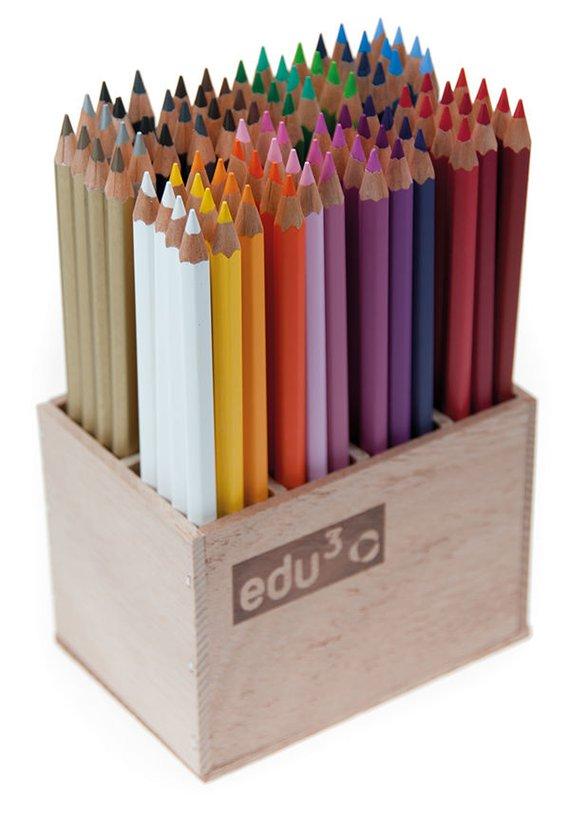 Edu3 Junior in houten kist met 96 potloden in 24 kleuren. Prima kwaliteit 4mm dikke punt.