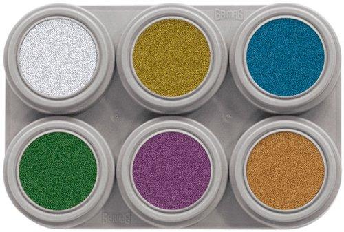 Grimas Metallic Pure ist ein extrem glänzendes, unparfumiertes und glutenfreies Wasser Make-up. 6 x 2,5ml.