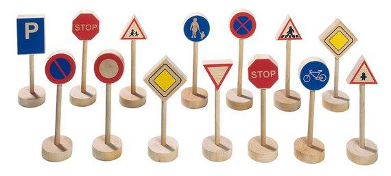 Verkehrsschilder Holz.
