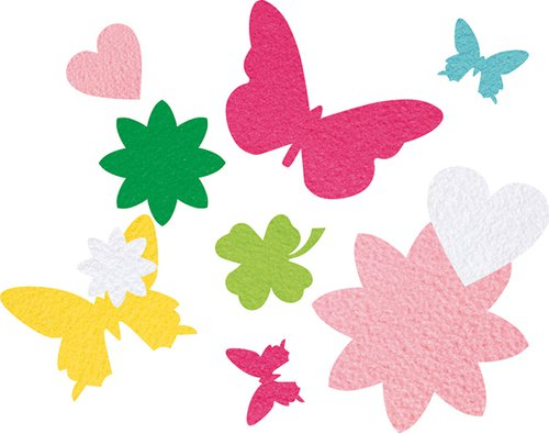 Filzstanzteile Blumen & Schmetterlinge