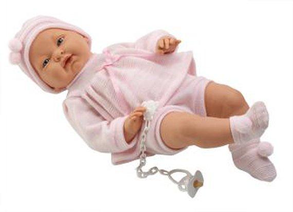 Babypuppe Mädchen. Länge 45cm. Lieferung inkl. Kleidung und Schnuller an Kette.