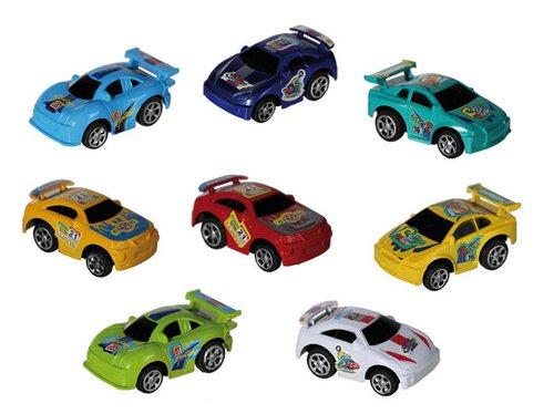 Kunststoffen autootjes 8 stuks