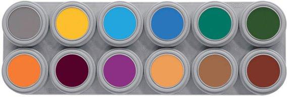 Grimeer etui 12 kleuren á 3 ml. Etui 2 met 12 andere kleuren. Echt proffesionele grimeer op waterbasis!