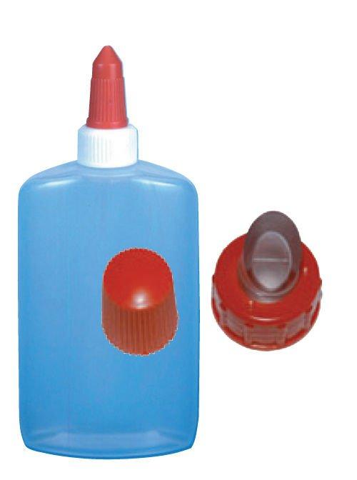 Klebeflasche mit 2 verschiedenen Verschlüßen. Sehr gut geeignet für unseren Kartoffelkleber.