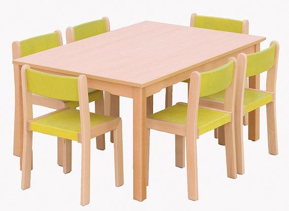 Tisch-Stuhl-Kombinationen mit Filzgleitern