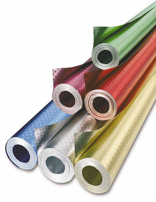 Metaalfolie 5 kleuren met sterretjes á 10 meter rol 50cm. breed