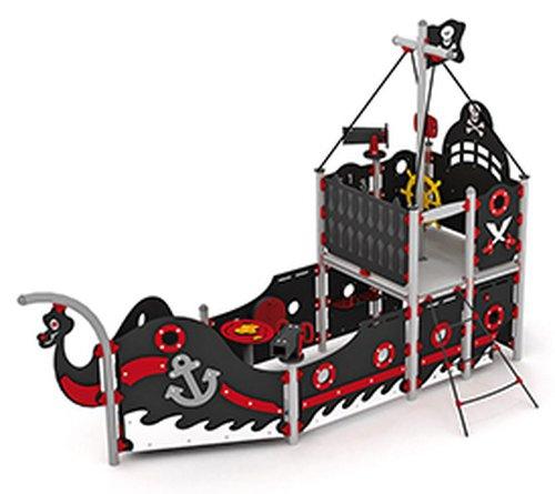 Piratenschiff mit Treppe und offener Rutsche.