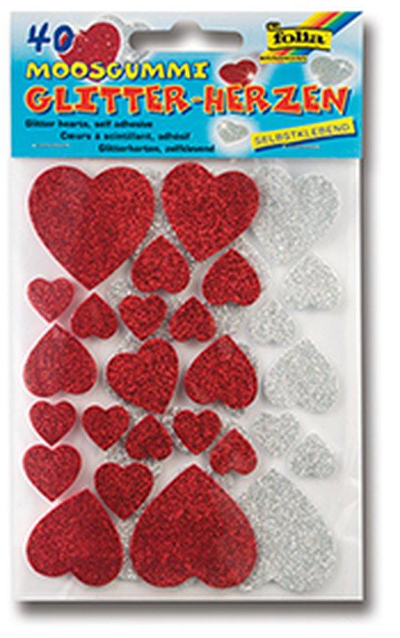 Moosgummi Glitterstickers Herzen