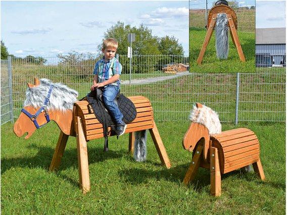 Holzpferd groß, 80 cm Sitzhöhe