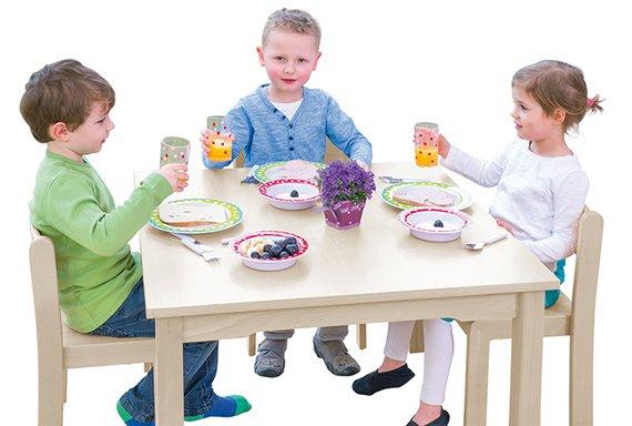 Tisch-Stuhl-Kombination Quadro mit Filzgleitern 42/70cm.