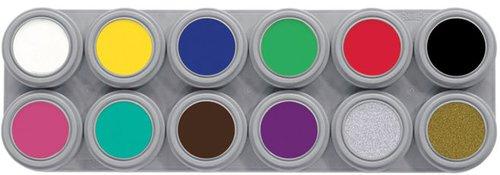 Grimeer-etui 12 kleuren á 3 ml. (incl. goud & zilver). Echt professinele grimeer op waterbasis.