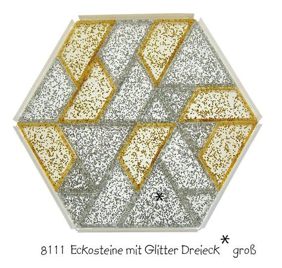 Eckosteinen mit gold un silberglitter Dreieck GROß