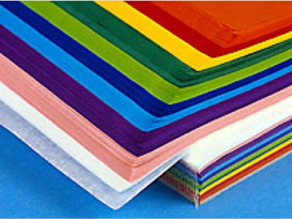 Seidenpapier 10 Farben sortiert je 25 Blatt 50x70cm.