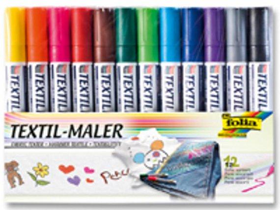 Textiel-viltstiften 12 kleuren assortie