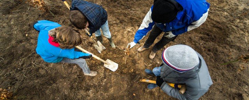 Kinderen planten een bos aan