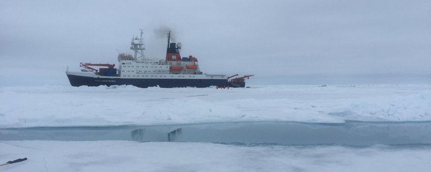 Onderzoeksschip Polarstern in het Arctische zee-ijs tijdens de vorige zomerexpeditie SiPCA, waar onderzoekers van Wageningen Marine Research en het Alfred Wegener Instituut het Arctische ecosysteem onderzochten