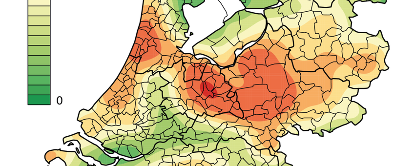 Dichtheid van tekenbeetmeldingen gemeld via Tekenradar.nl in 2012 en 2013
