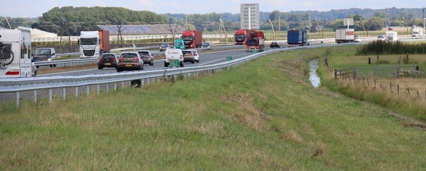 Aanblik op de Rijksweg A15, de beoogde locatie voor de langste boomgaard van Europa.