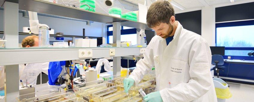 Onderzoeker Kees van Bochove neemt een watermonster voor de detectie van eDNA.