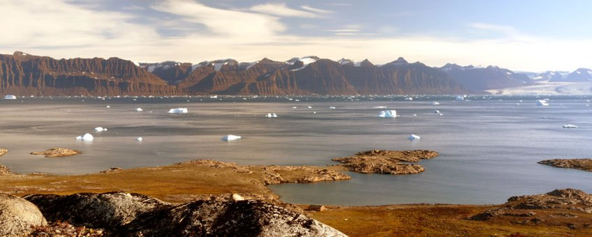 View of Kangertittivaq in eastern Greenland, one of the largest sund/fjord system in the world