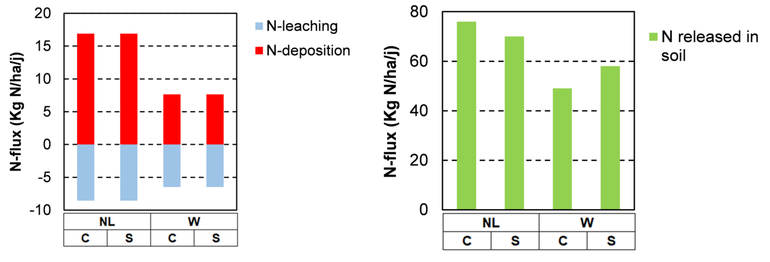 Left: atmospheric deposition and leaching to the groundwater of nitrogen. Right: amounts of nitrogen released by the decomposition of organic matter in dune grassland. Without (C) and with (S) deposition of calcareous sand in the Netherlands (NL) and Wales (W)
