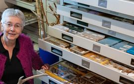 Annemarie bij haar collectie sporen