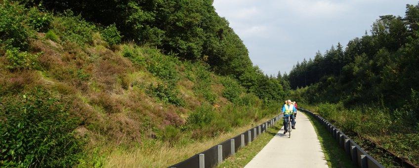 Nieuwe fietspad in de spoorkuil in Groesbeek. Eronder zijn tunnels voor reptielen aangelegd