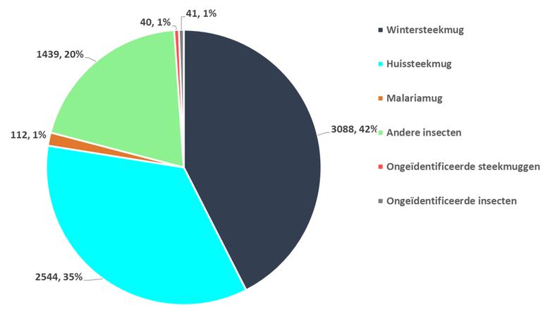 Verdeling (absolute aantallen en percentages) ingestuurde steekmuggen en andere insecten, ingestuurd door het Nederlandse publiek in februari 2021