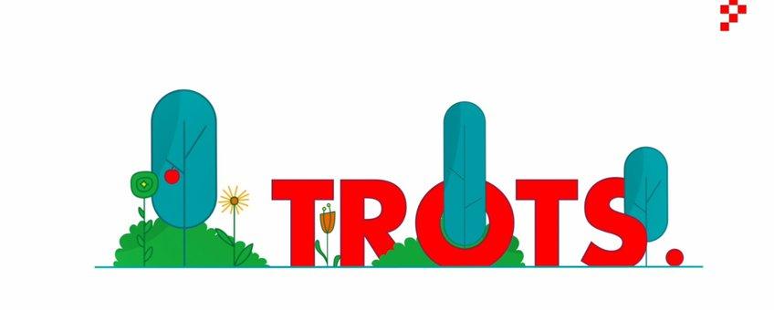 Illustratie met het woord Trots, bomen en bloemen