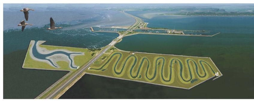Artist's impression van hoe de brakwaterrivier bij Kornwerderzand er ongeveer uit zou komen te zien
