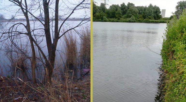 Dos fotografías del lago sur de Norder-IJplus en el lado norte del Norjikanal.  La piscina del sur es una piscina de agua salada, la piscina del norte, separada por una presa, es agradable.  El cuerno de agua salada de América del Sur vive en South Lake.  La única especie endémica en el estanque del norte es el cuerno de agua de Jenkins, pero no se encuentran nuevas especies.
