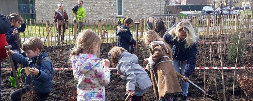 Leerlingen van basisschool de Fontein planten het eerste Tiny Forest van Breda aan.