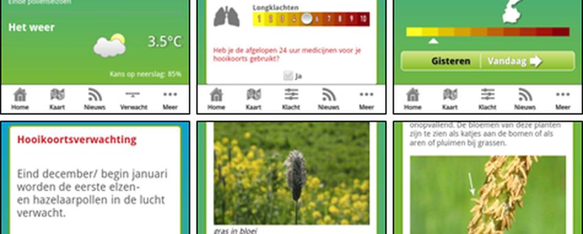 Screenshots van Allergieradar App. Boven van links naar rechts: Startscherm / Registreren klachten / Kaart met individuele klachten. Onder: Verwachting / Achtergrondinformatie planten / Achtergrondinformatie pollen