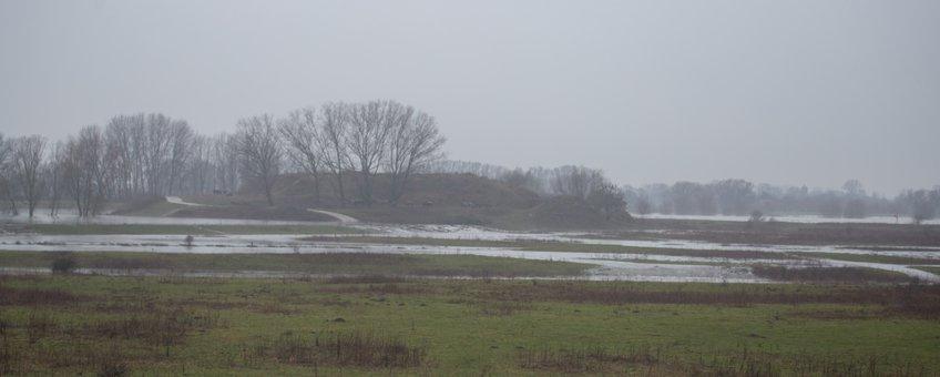 Overstromen van de zomerdijk bij de Loowaard
