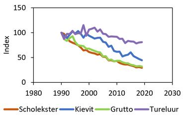 Aantalsontwikkeling van vier weidevogelsoorten
