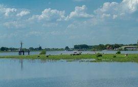 Hoog water rivieren, dieren zoeken hogere delen op