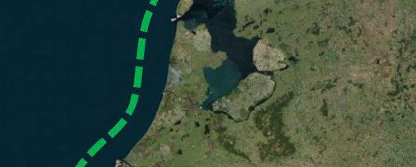 De mogelijke route van de schieraal van Delfzijl naar de Westerschelde