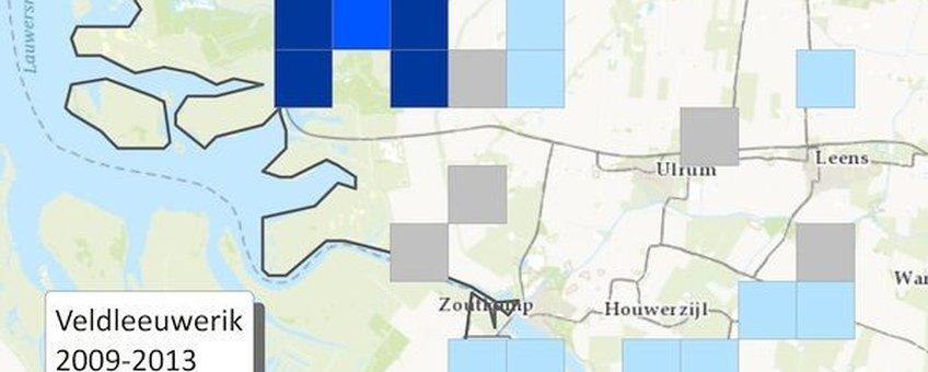 Gemiddelde dichtheden van de Veldleeuwerik 2009-2013: De Marnewaard springt eruit