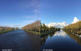 Almere_Tweede Geuzenbrug_Kanaal oktober 2017 en 2018