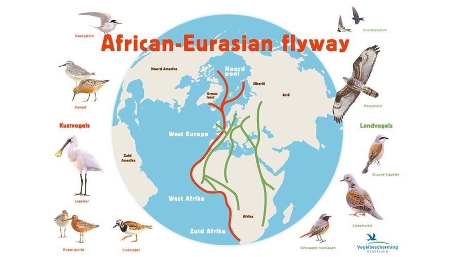 Trekroutes kaart Vogelbescherming