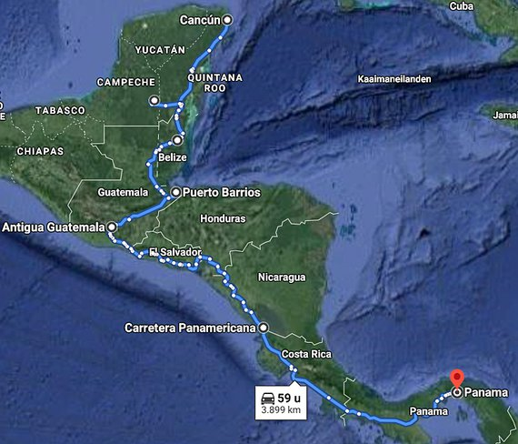 Route Midden Amerika