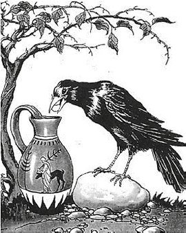 Tekening uit boek Raven en kraaien