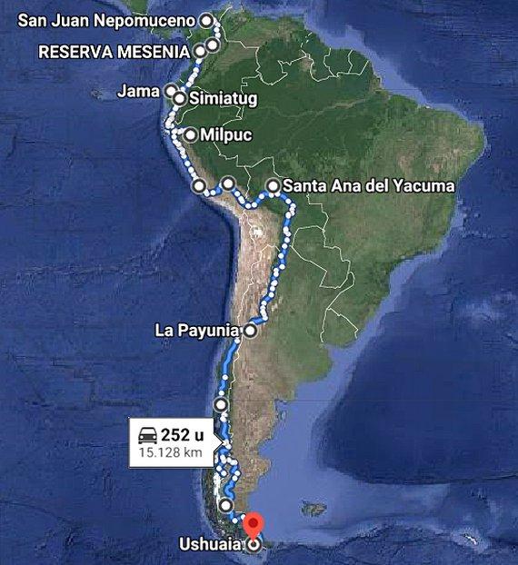 Route Zuid Amerika