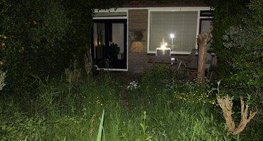 Tuin met nachtvlinderval.